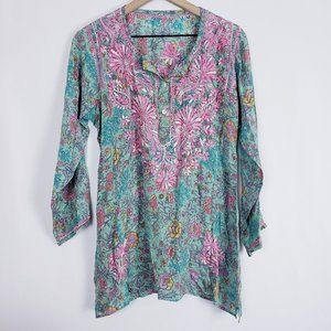 Floral Embroidered Silky Light Weight Tunic Dress